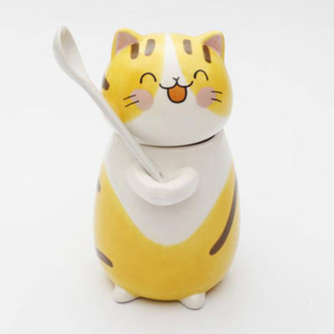 mug chat porcelaine jaune
