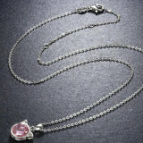 collier réglable chat avec diamant rose