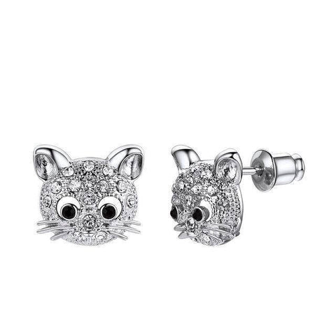 Boucles d'Oreilles Chat  Clous d'Or