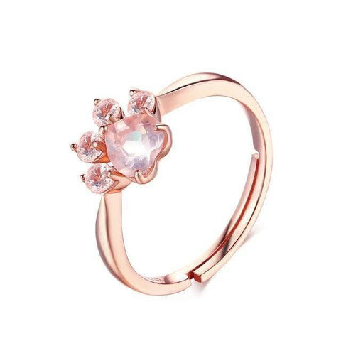 Bague Chat Patte Or Rose
