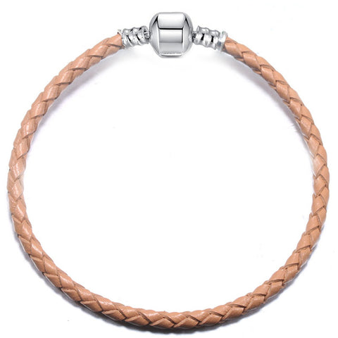 bracelet cuir marron pour charms chat