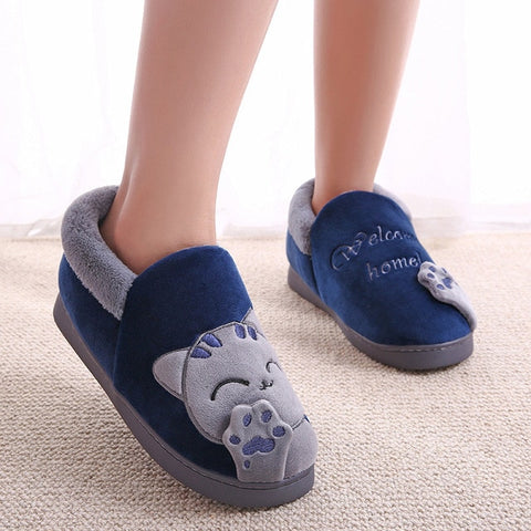 chaussons chat homme bleu