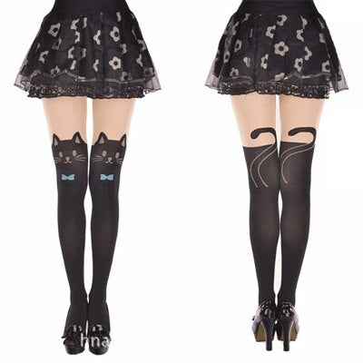 collants motif chat femme