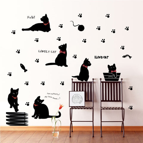 sticker mural chat noir