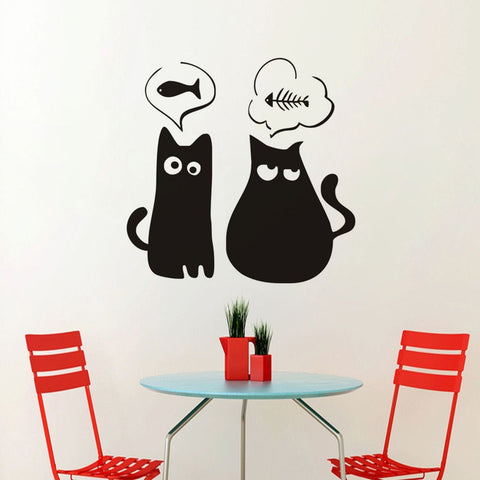 stickers muraux chats noirs