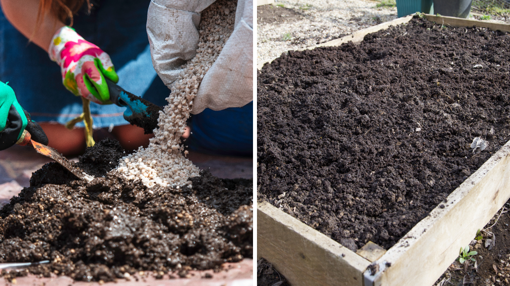 mixing soil and filling up raised bed