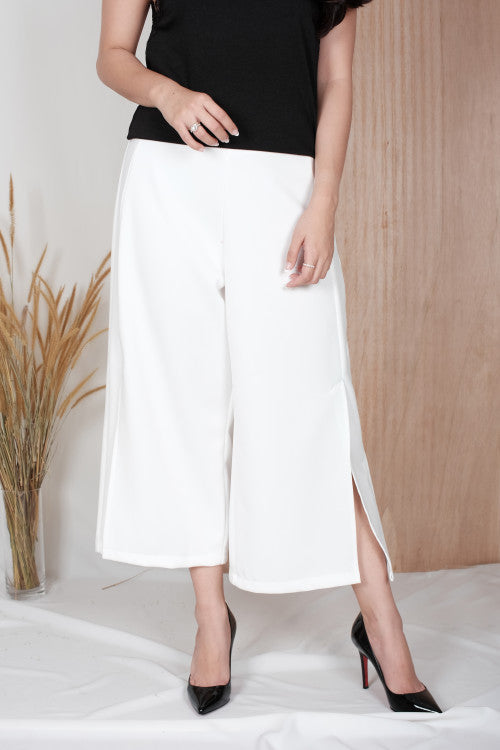Linden Slit Cullote in White