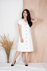 Alto Button Dress in White