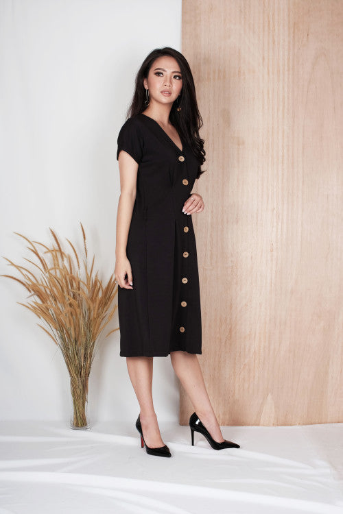Alto Button Dress in Black