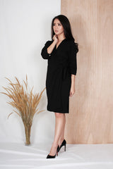 Aster Wrap Dress in Black