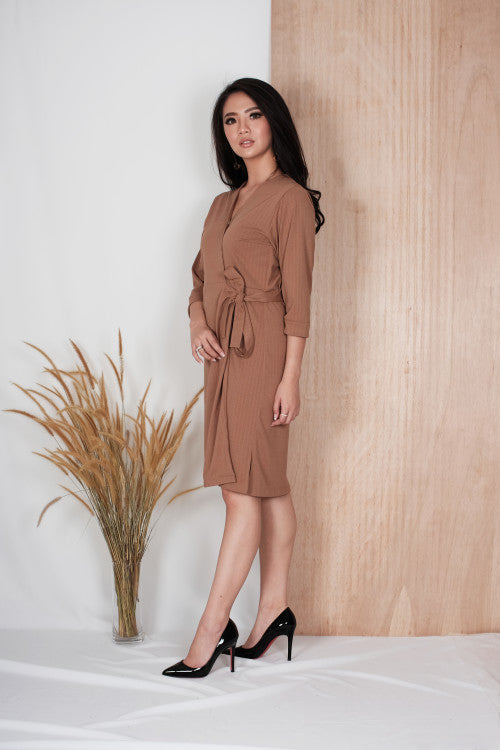 Aster Wrap Dress in Brown