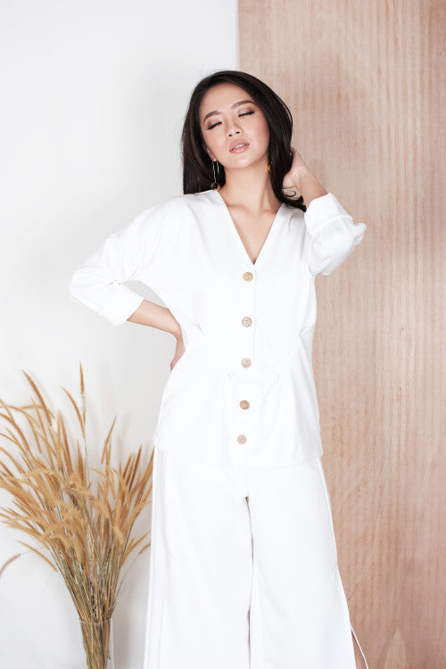 Alto Button Top in White
