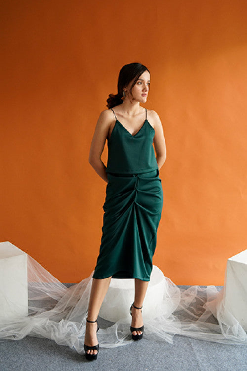 Cher Drapery Slip Dress in Green