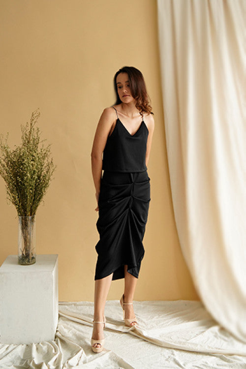 Cher Drapery Slip Dress in Black