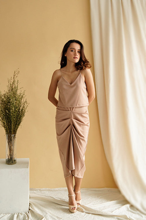 Cher Drapery Slip Dress in Milo