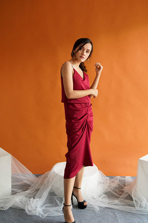 Cher Drapery Slip Dress in Maroon