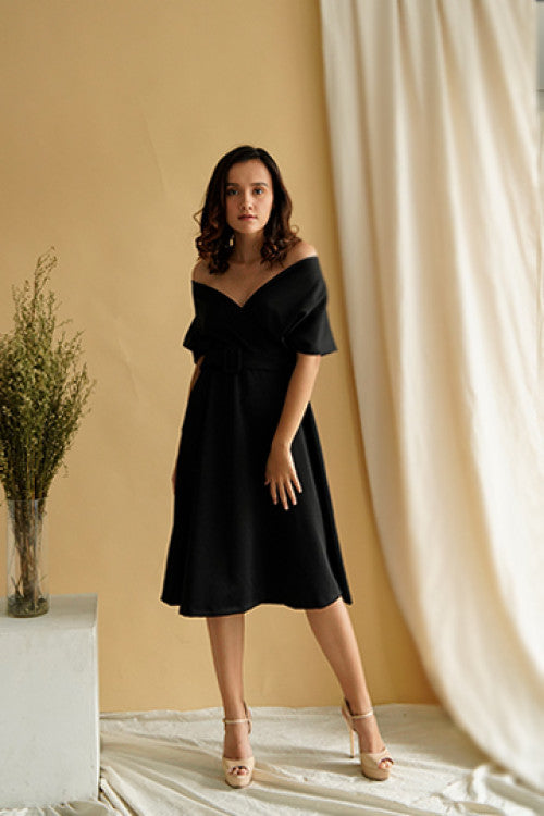 Haven Multiway Flare Dress in Black