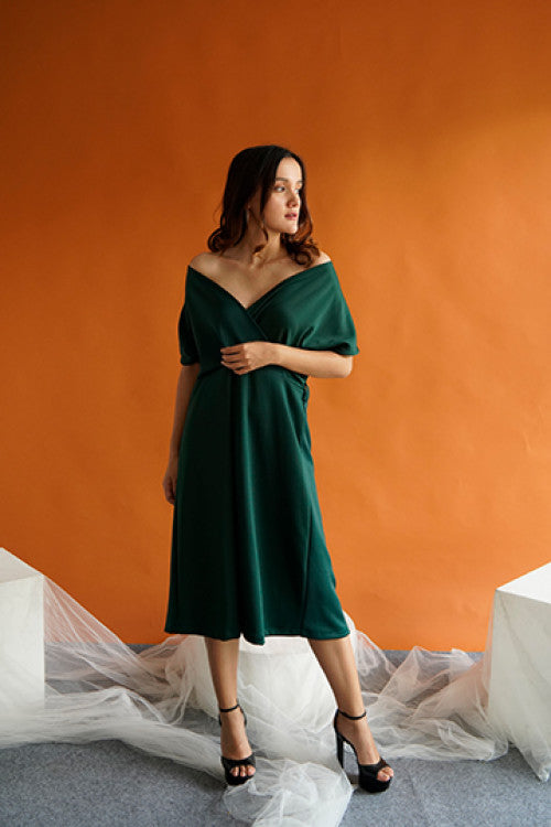 Haven Multiway Flare Dress in Green
