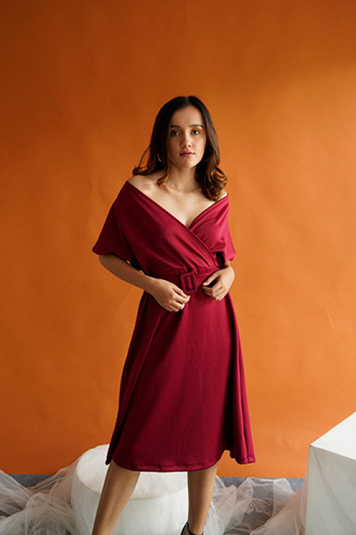 Haven Multiway Flare Dress in Maroon