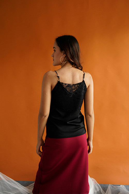 Cara Lace Camisole Top in Black