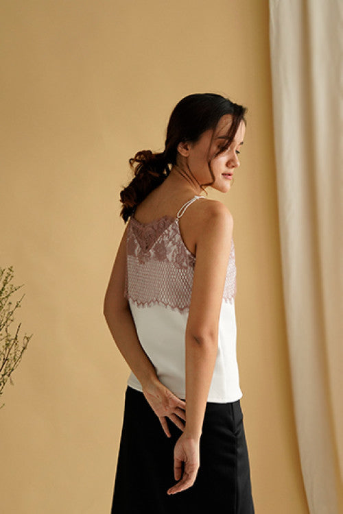 Cara Lace Camisole Top in White
