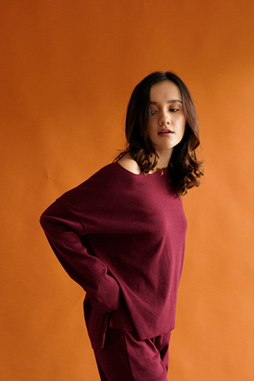 Rib Comfy Sweater in Maroon