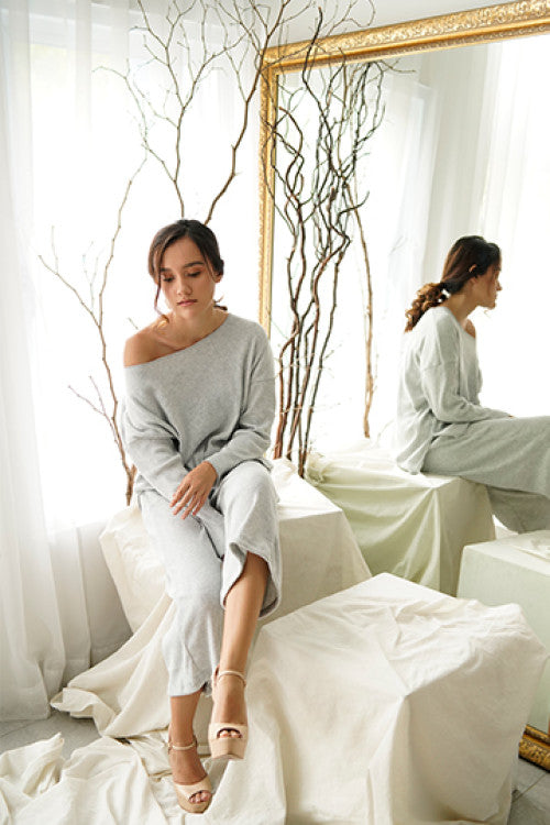 Pre- Rib Comfy Sweater in Grey