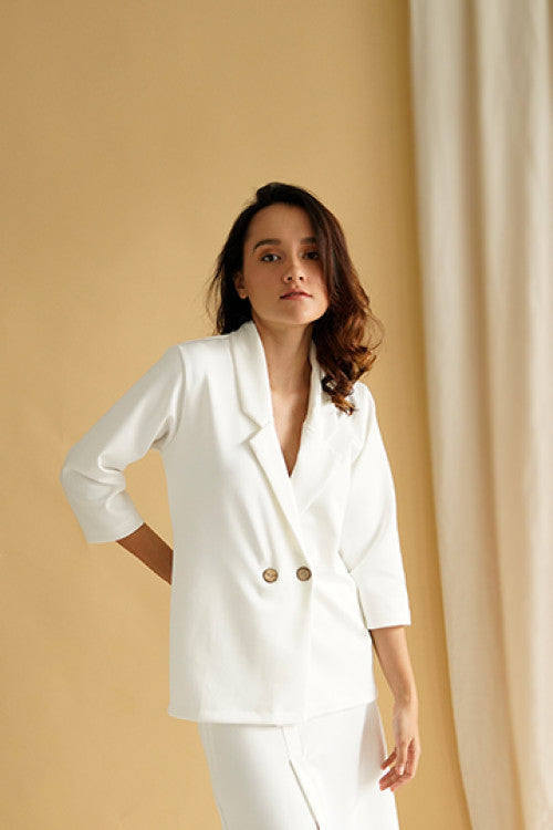 Esme Blazer Top in White