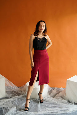 Morgan Slit Hw Skirt in Maroon