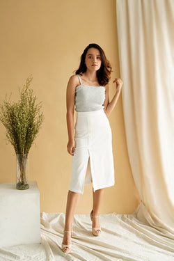 Morgan Slit HW Skirt in White