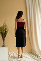 Morgan Slit HW Skirt in Black