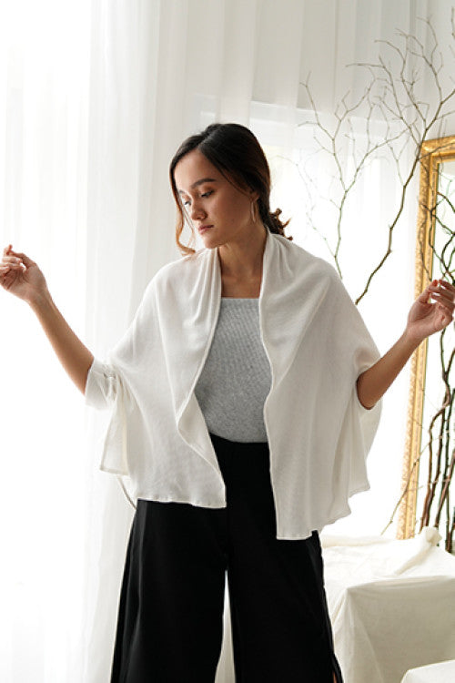 Maja Rib Cardigan in White