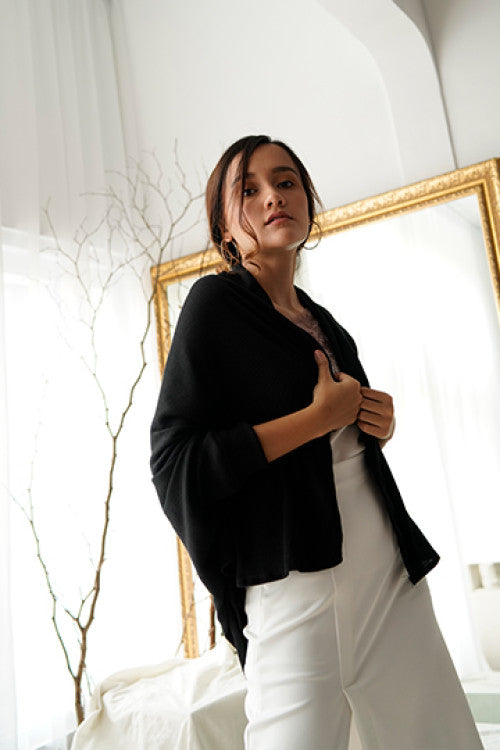 Maja Rib Cardigan in Black