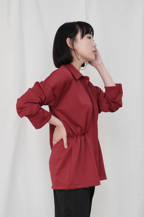 Lexi Shirt Top in Maroon