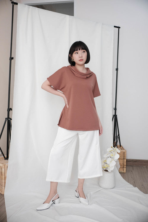 Rocha Cowl Neck Top in Brick Brown
