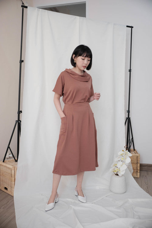 Rocha Set in Brick Brown (Top & Skirt)
