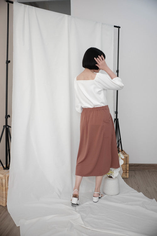 Rocha Midi Skirt in Brick Brown