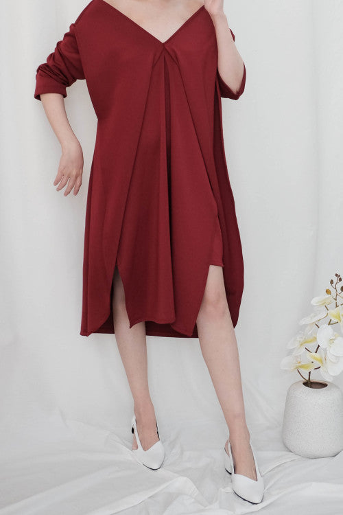 Leah Multiway Dress in Maroon