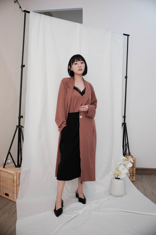 Eden Long Coat in Brick Brown