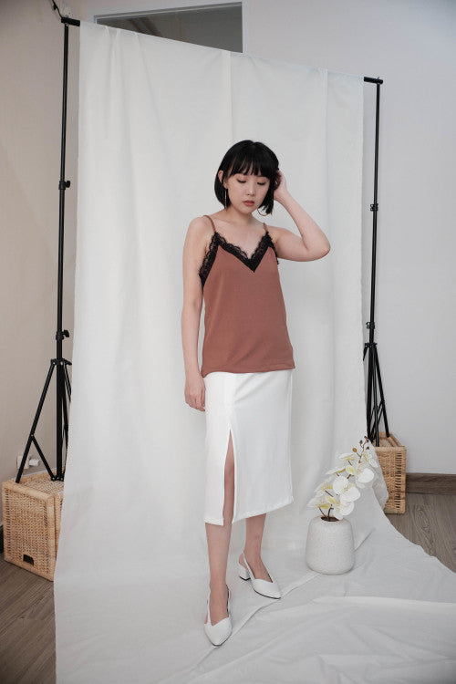Lace Camisole in Brick Brown