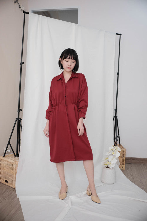 Simone Outer Dress in Maroon