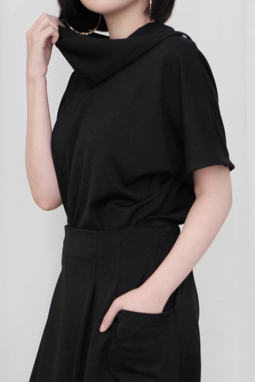 Rocha Cowl Neck Top in Black