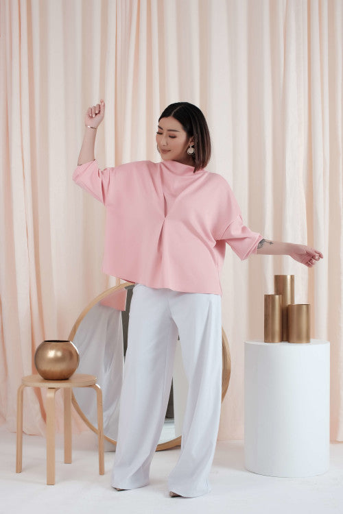 Oversized Turtle Neck Top in Pink (Reversible)