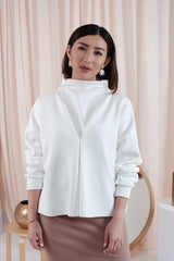 Oversized Turtle Neck Top in White (Reversible)