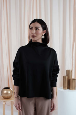 Oversized Turtle Neck Top in Black (Reversible)