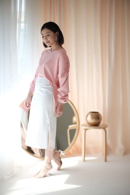 Mezzo Pleated Top in Pink