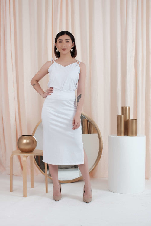 Midi Skirt in White- 2 PCS LEFT!