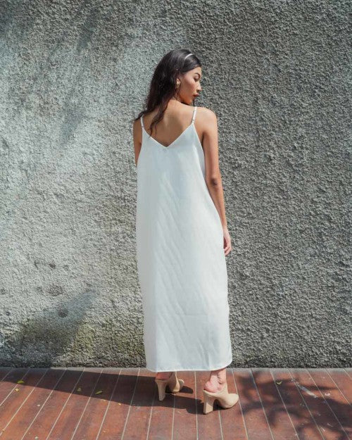 Basic Slip Dress in White (READY!)