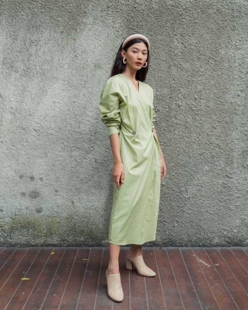 Barbara Wrap Dress in Fresh Green
