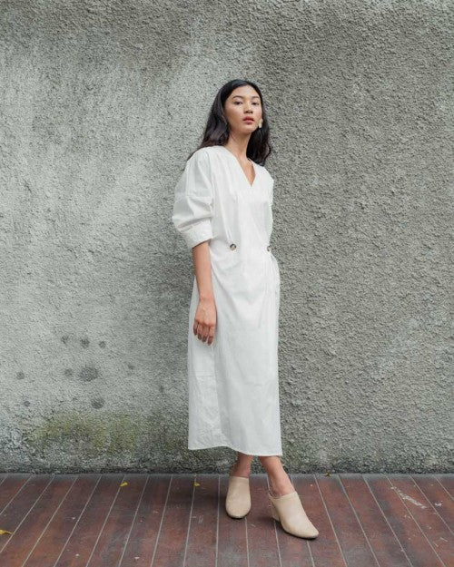 Barbara Wrap Dress in White (READY!)